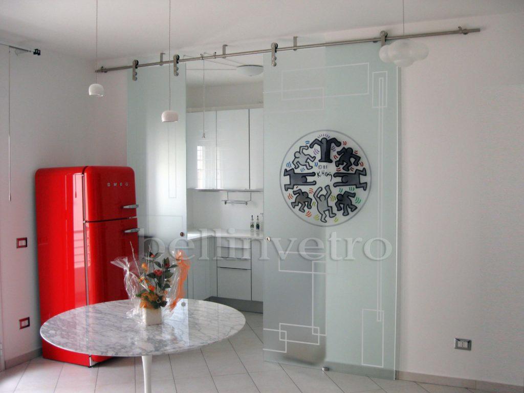 Porte in vetro decorate per interni: scorrevoli, a battente ...